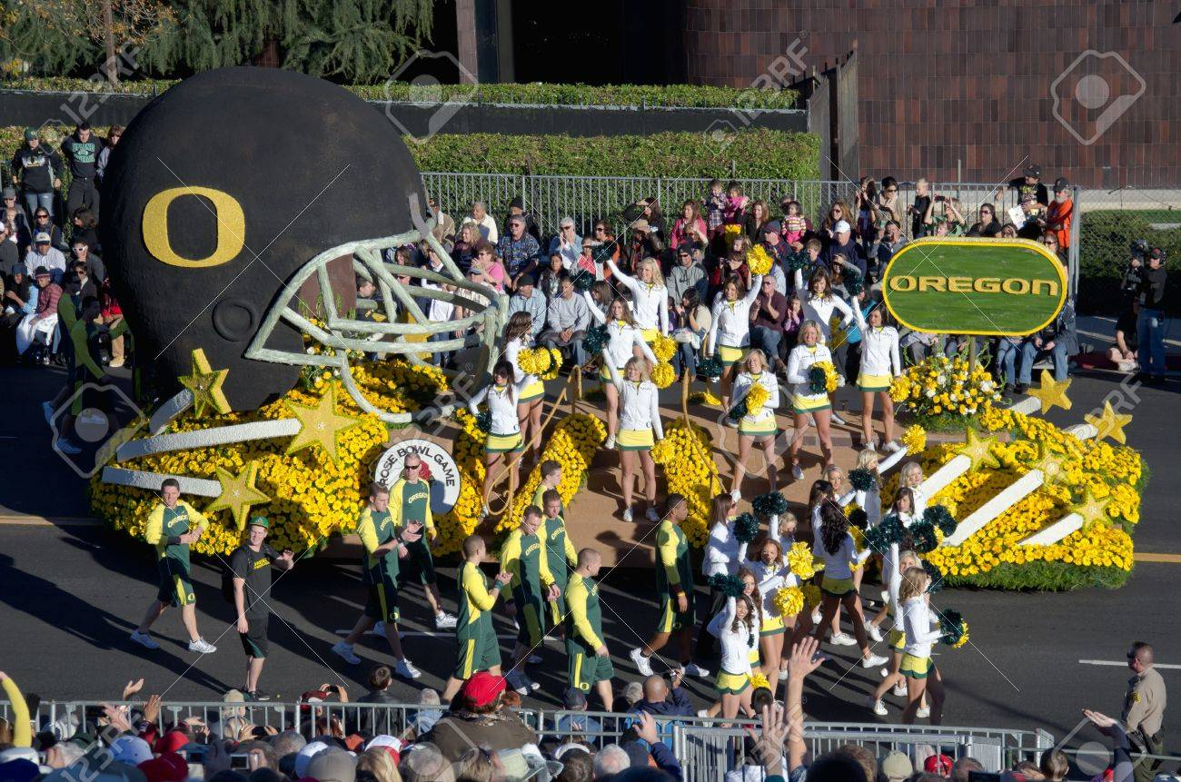 Pasadena, California, USA - January 2, 2012: The University of Oregon float was seen in the 123rd Tournament of Roses Parade. Stock Photo - 11767636