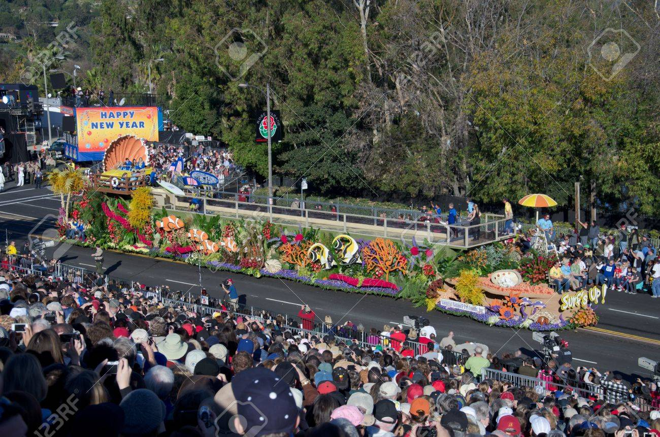 Pasadena, California, USA - January 2, 2012: Natural Balance Pet Foods Float called: Surfs Up, participated in the 123rd Tournament of Roses Parade. Stock Photo - 11767648
