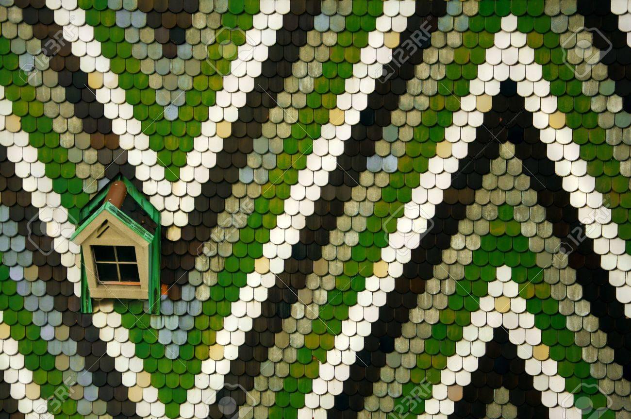 Geometrische Mosaik Ornament Weiss Schwarz Grau Und Grun Fliesen