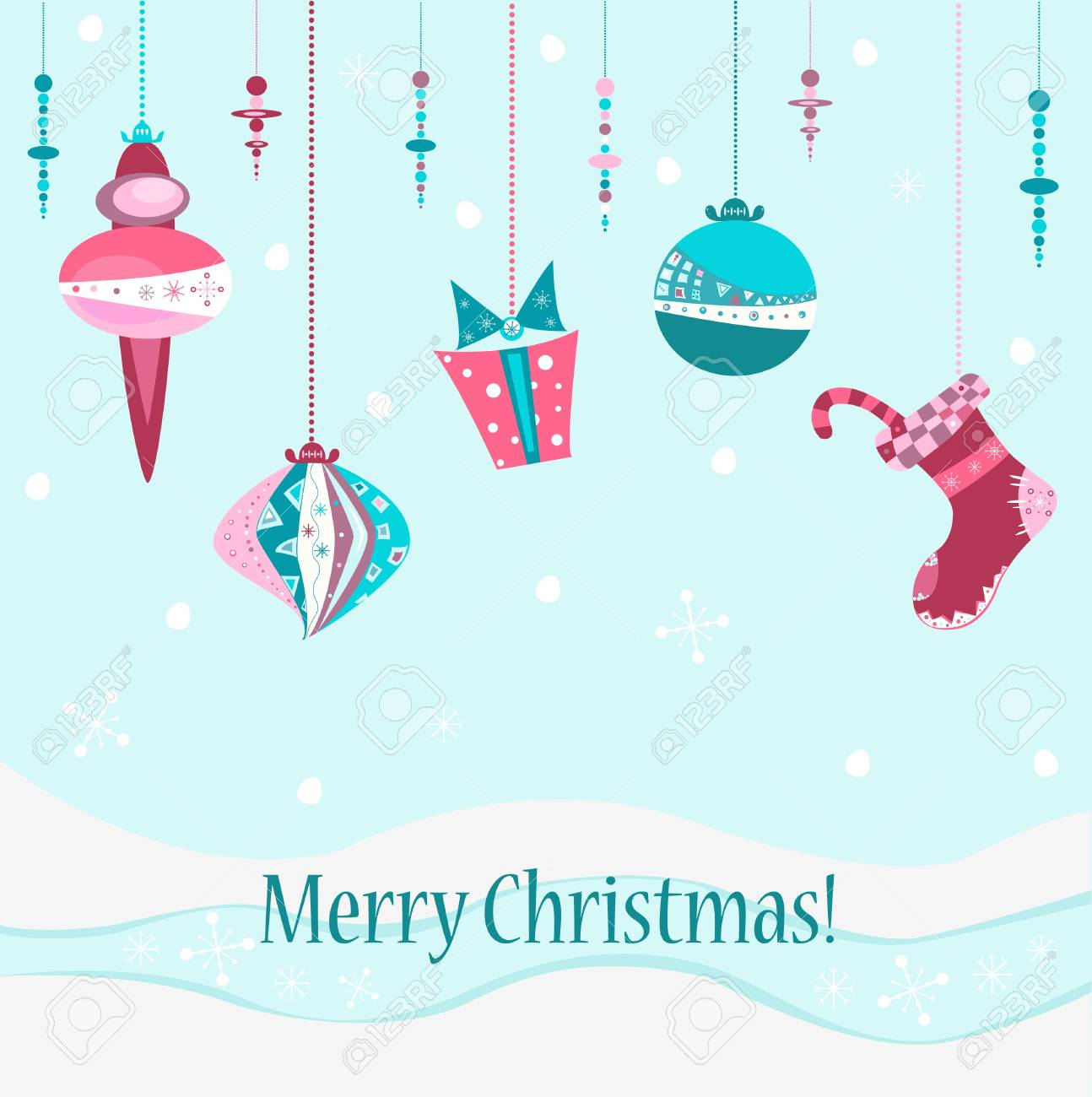 illustration Christmas greeting postcard with pretty ornate decorations Stock Vector - 16614759
