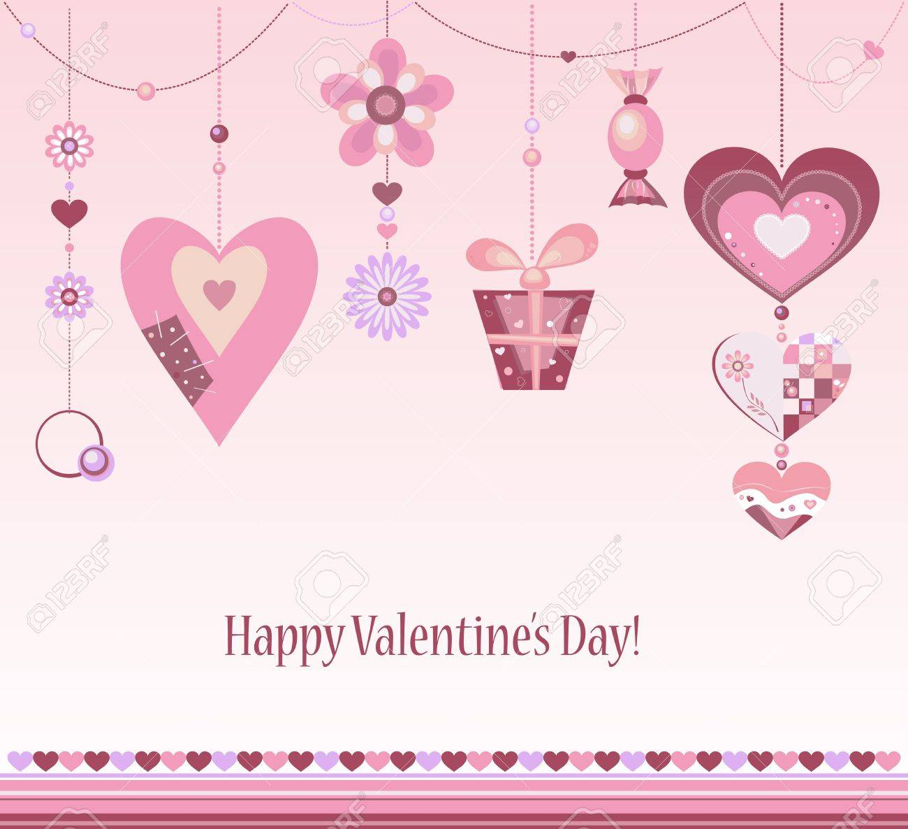 clip art happy valentine day colorful greeting card with different