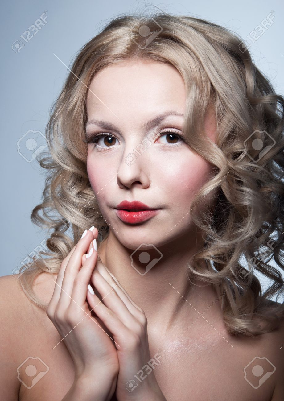 Stunning Young Blond Woman Model With Clear Skin Tender White
