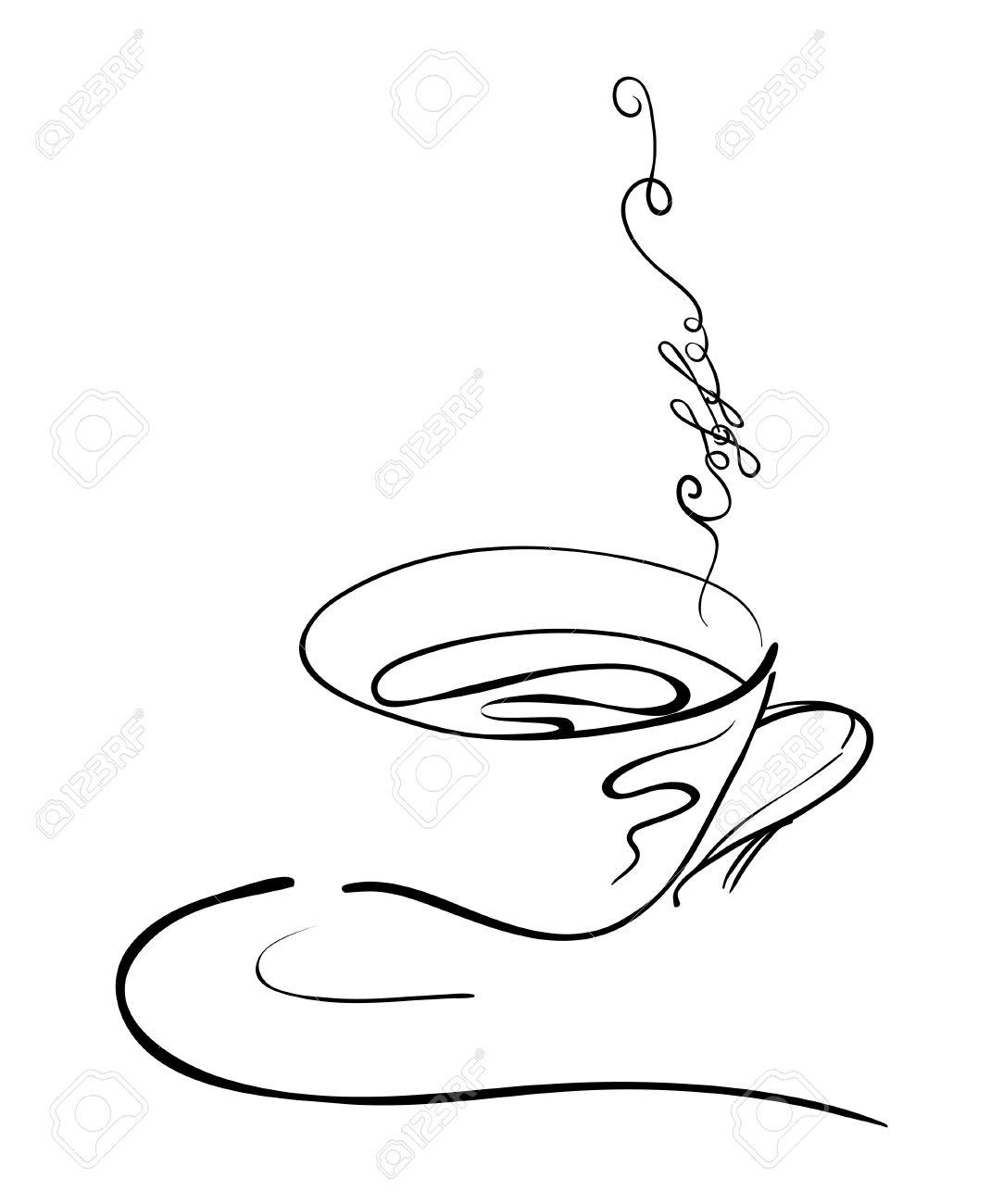 Vettoriale Illustrazione Disegno A Mano Su Una Tazza Di Caffè