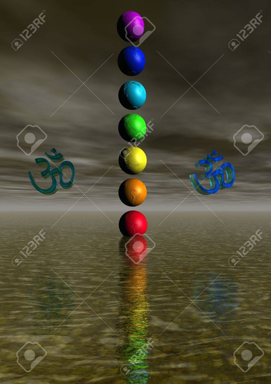 Colored aum / om in chakra - 11267467