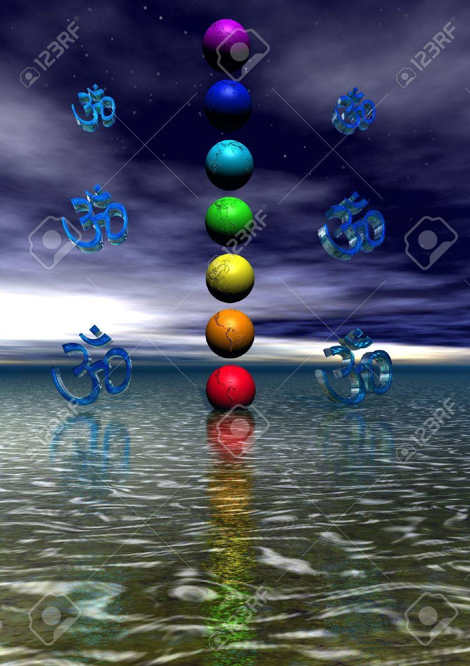 chakra and aum blue - 11267486
