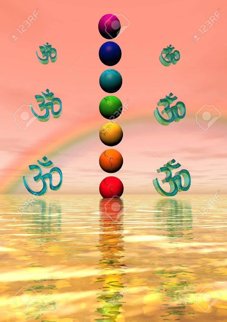 chakra and aum and rainbow - 11267482