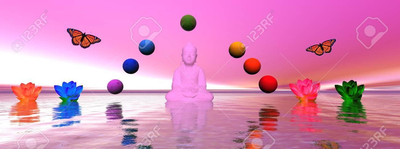buddha and chakra and lily water Stock Photo - 11267492