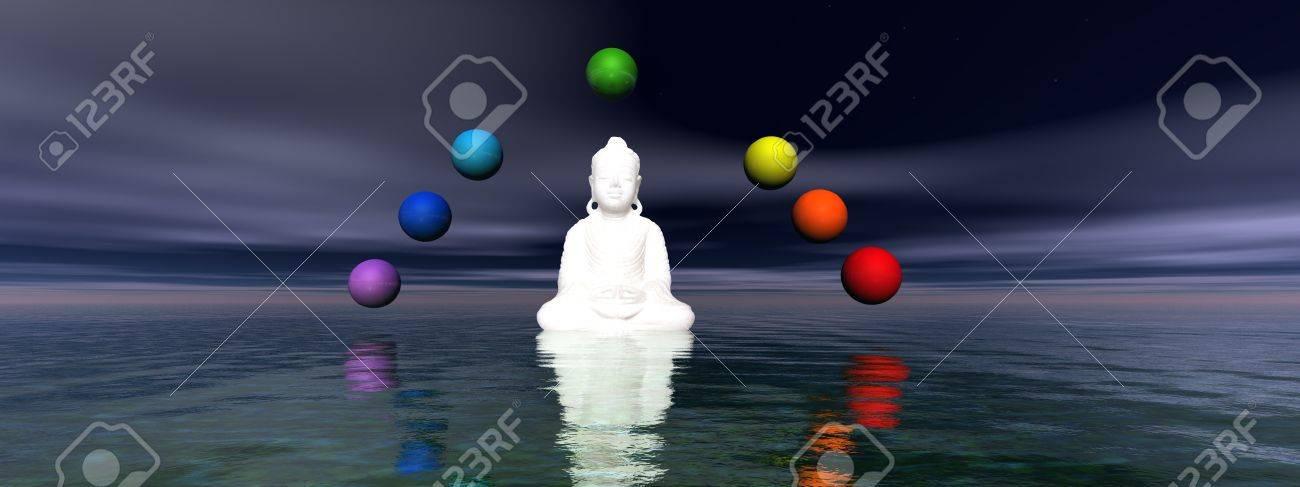 buddha white and chakra - 11267489