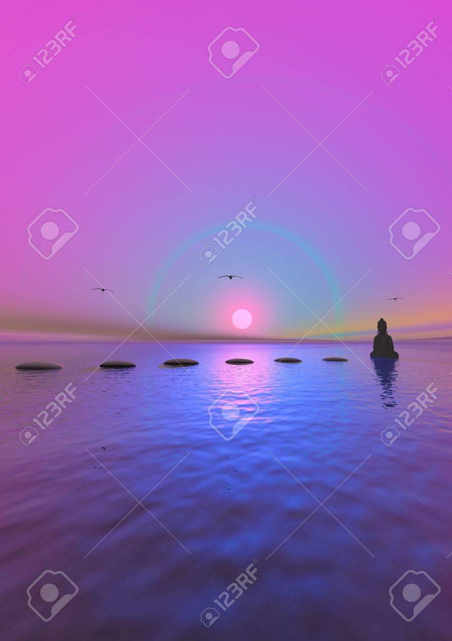 steps and buddha grey and sun pink - 12394172