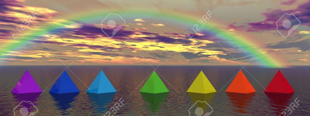 rainbow and pyramids chakra - 12394203