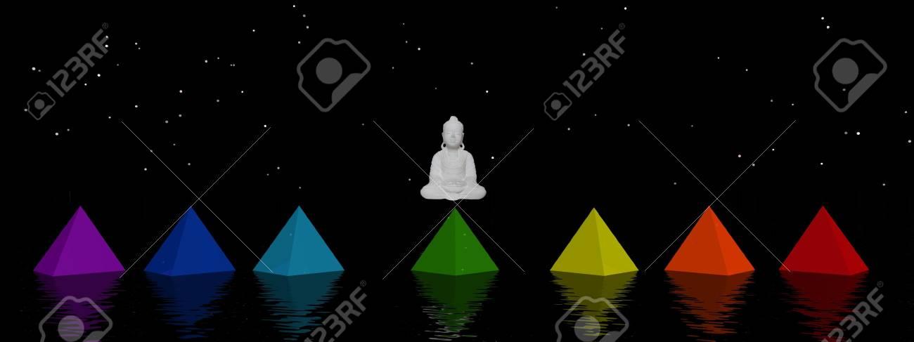 pyramids chakras and buddha Stock Photo - 12394181