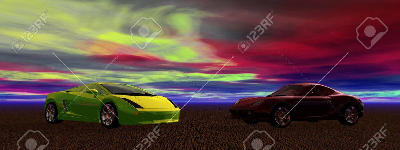 two cars yellow and red Stock Photo - 12394230