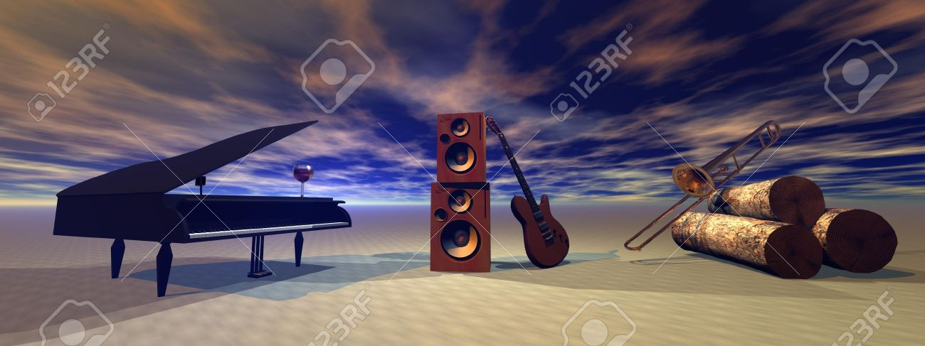 piano and guitar and trombone and music - 12831881