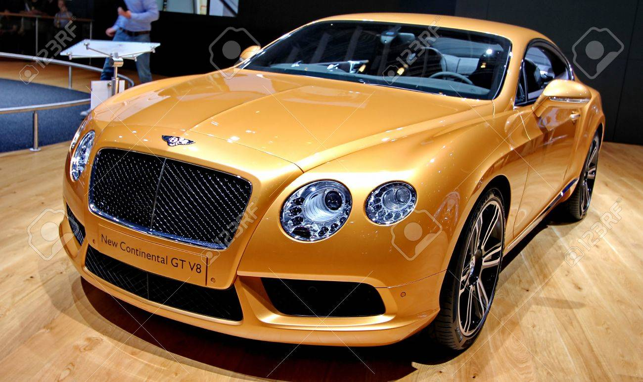 GENEVA MARCH 16 A BENTLEY new continental GT v8 on display at the 82nd international motor show Palexpo-Geneva on march 16;2012 in Geneva - 12818858