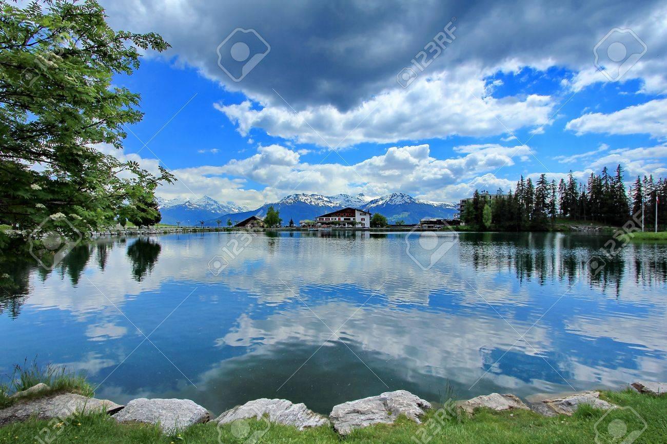 Crans-Montana, Switzerland, lake and sky blue - 13856400