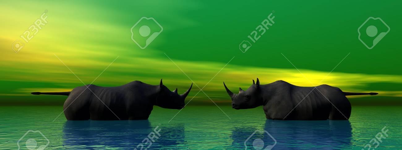 rhinoceros and sky green - 14837036