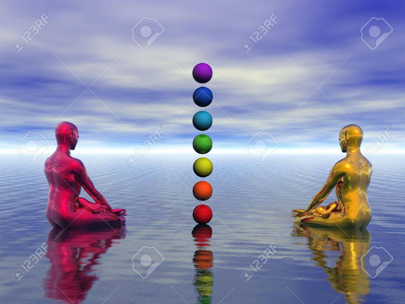 buddha red and yellow and chakra - 16443283