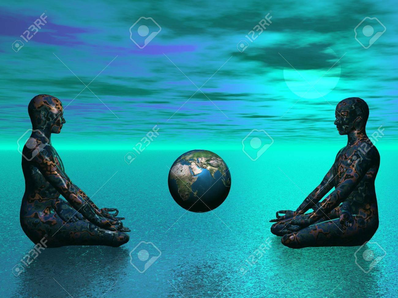 buddha and earth blue - 16443289