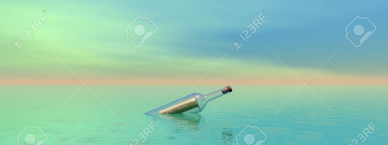 bottle and sea and sky - 16798697