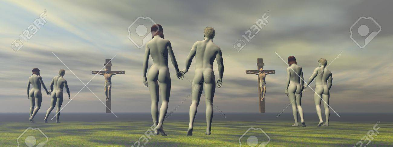 cross grey and men and women Stock Photo - 17997588