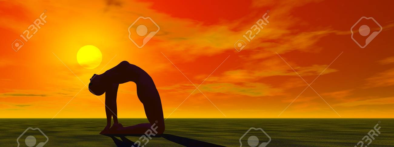 woman and yoga and sun Stock Photo - 18713258