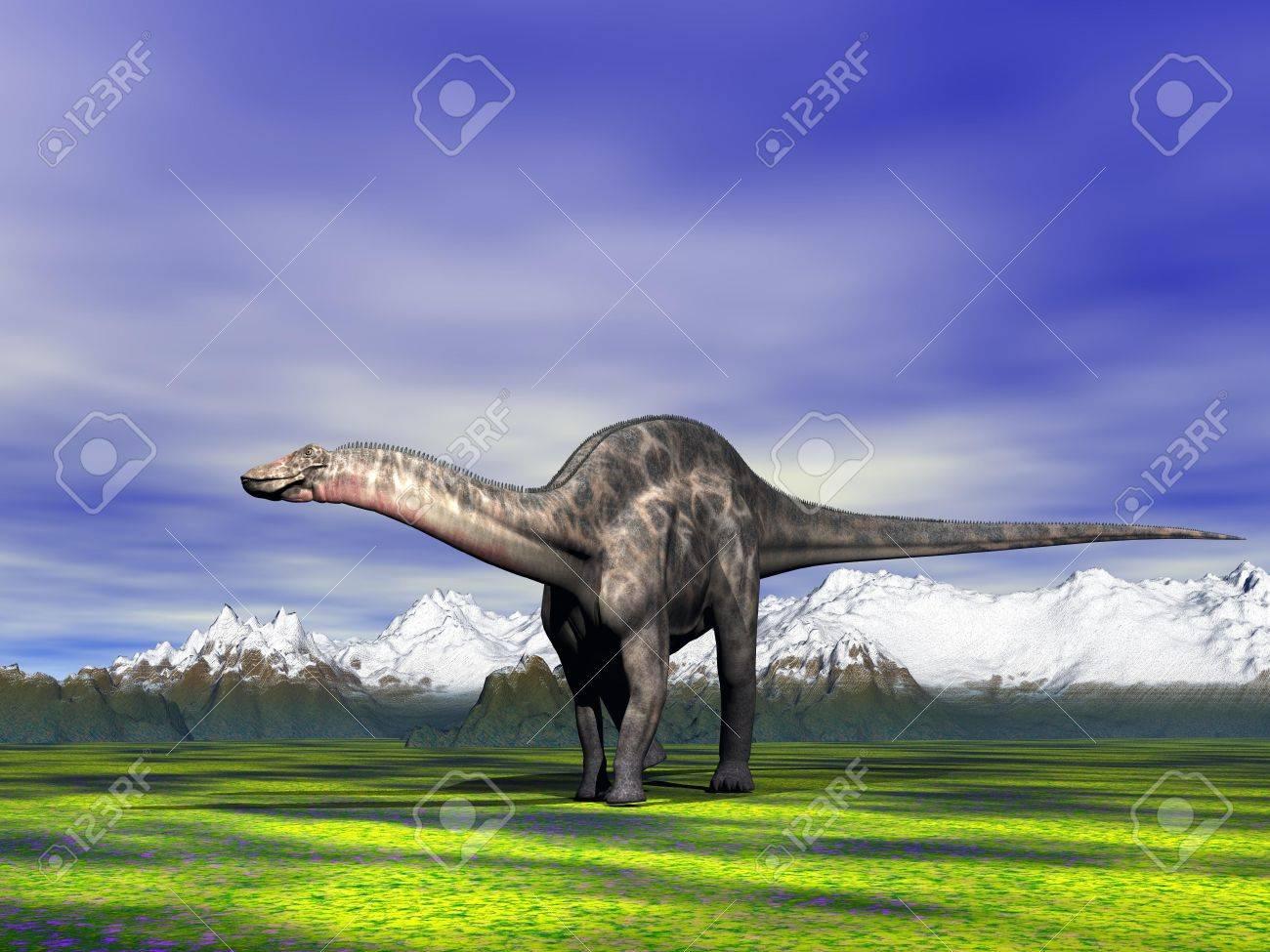 dino Dicraeosaurus and mountain and snow - 19423679