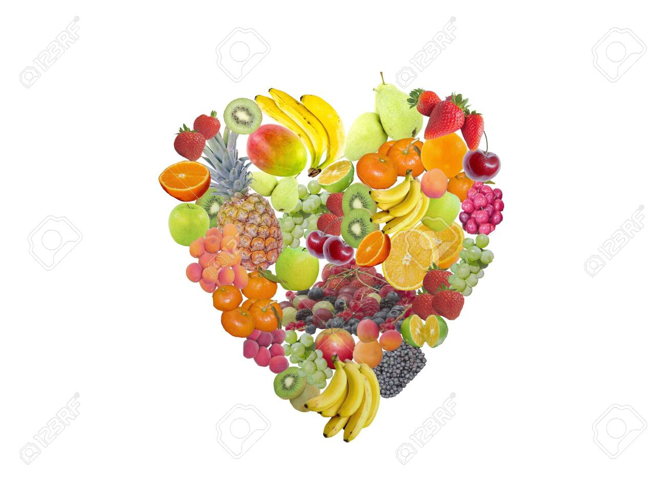 Heart full of different fruits on white - 154623228