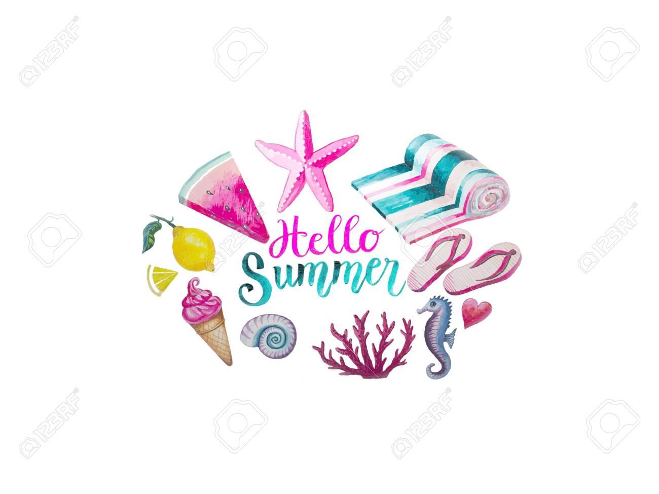 Hello Summer lettering on white - 154623230