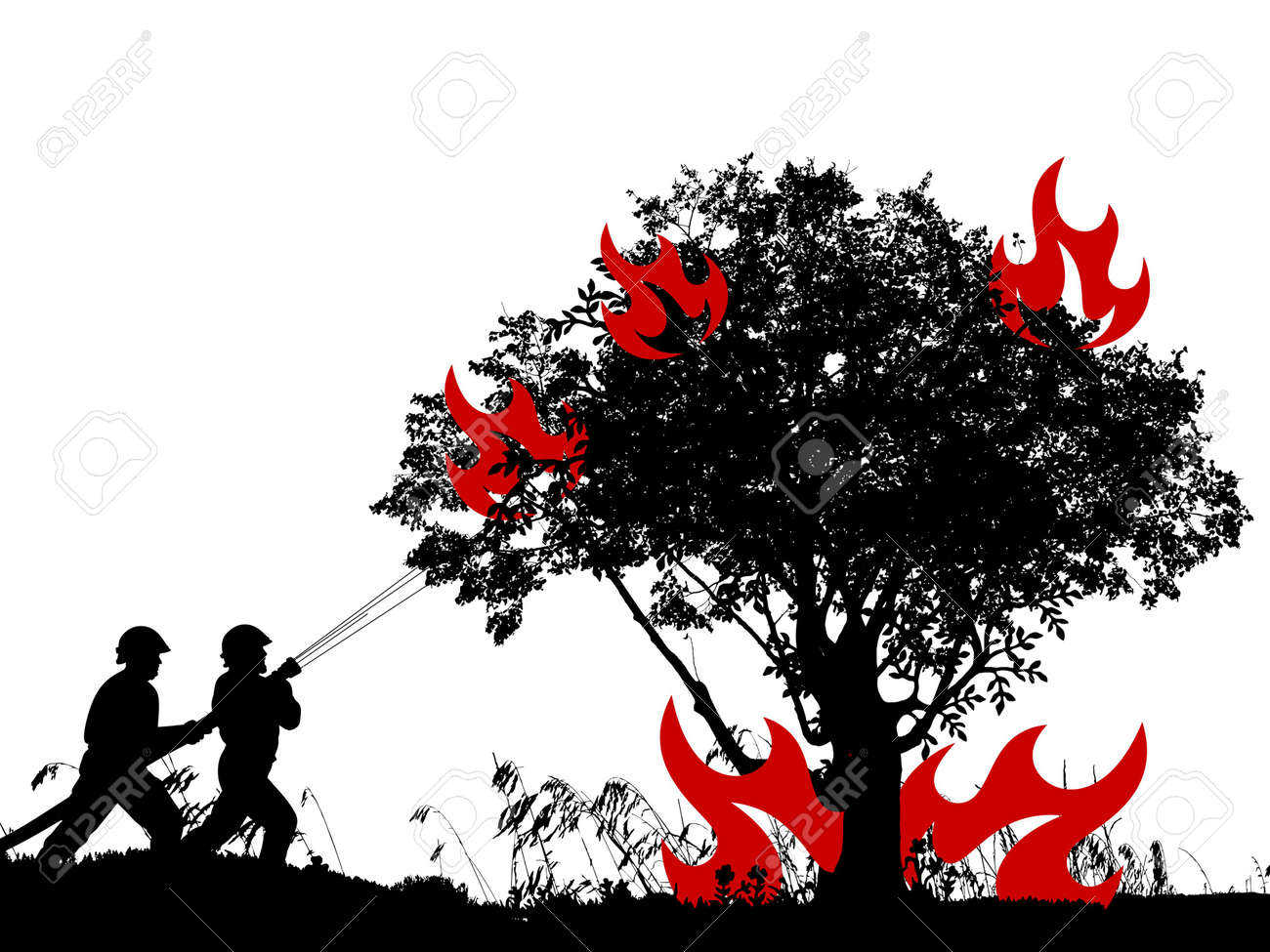 forest fire on white background - 3d rendering - 155723245
