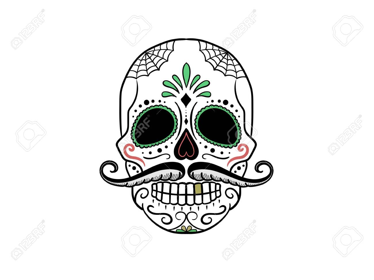skull decorated with colors on a white background - 3d rendering - 155723247