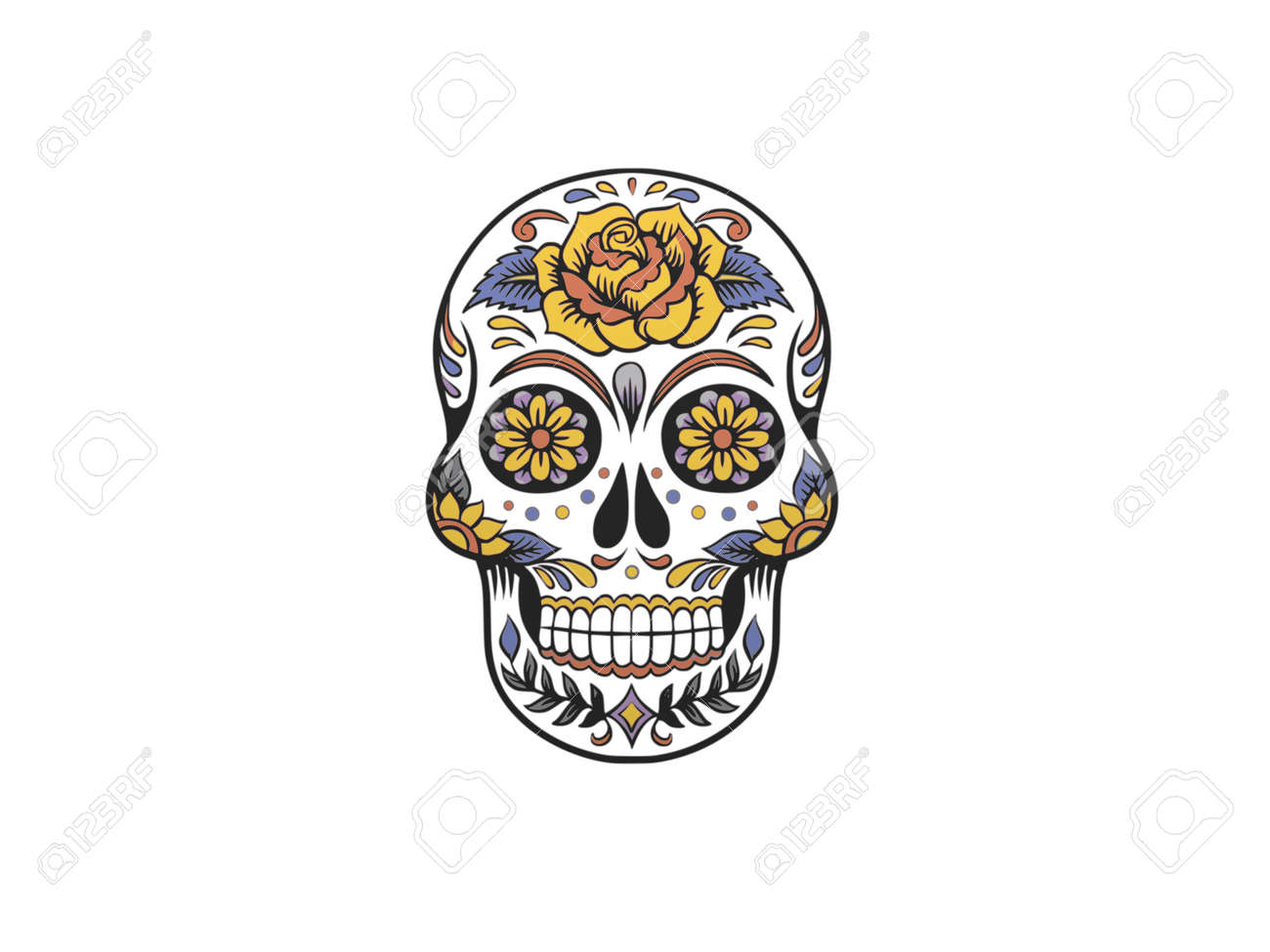 skull decorated with colors on a white background - 3d rendering - 155785735