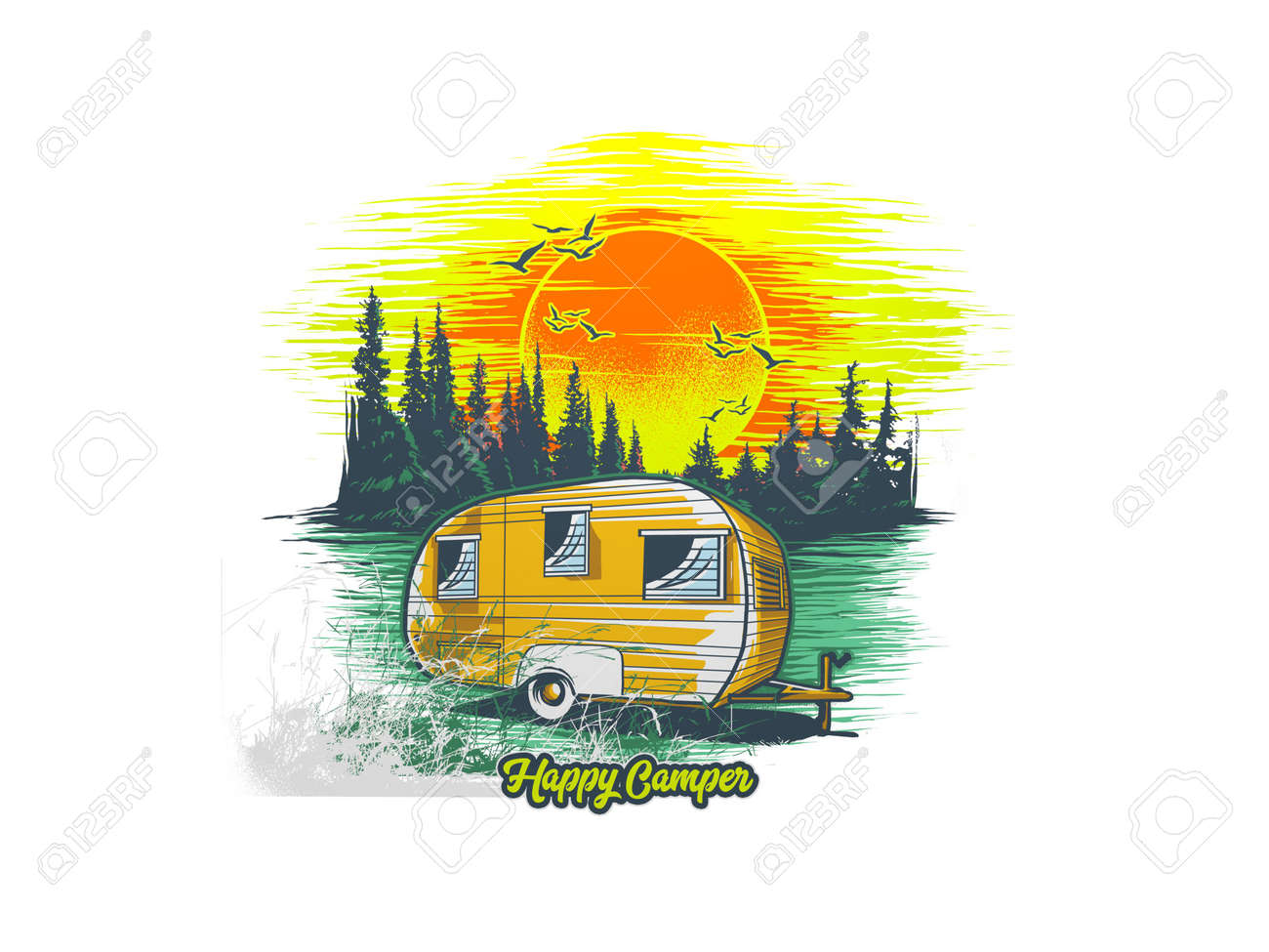 multiple camping objects and logo on white background - 3d rendering - 155785737