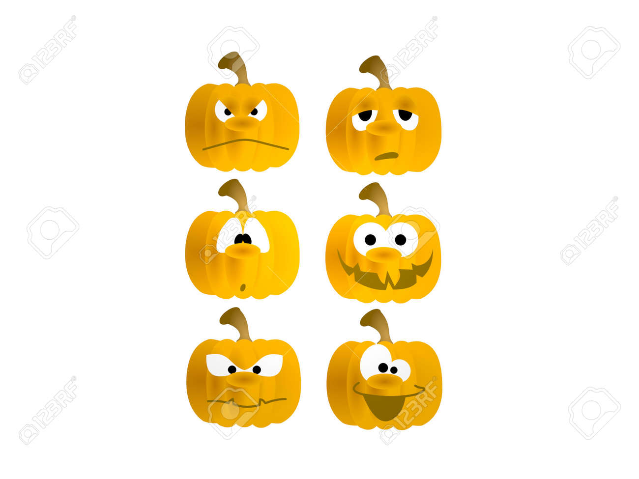 six pumpkins on white background - 3d rendering - 157160609