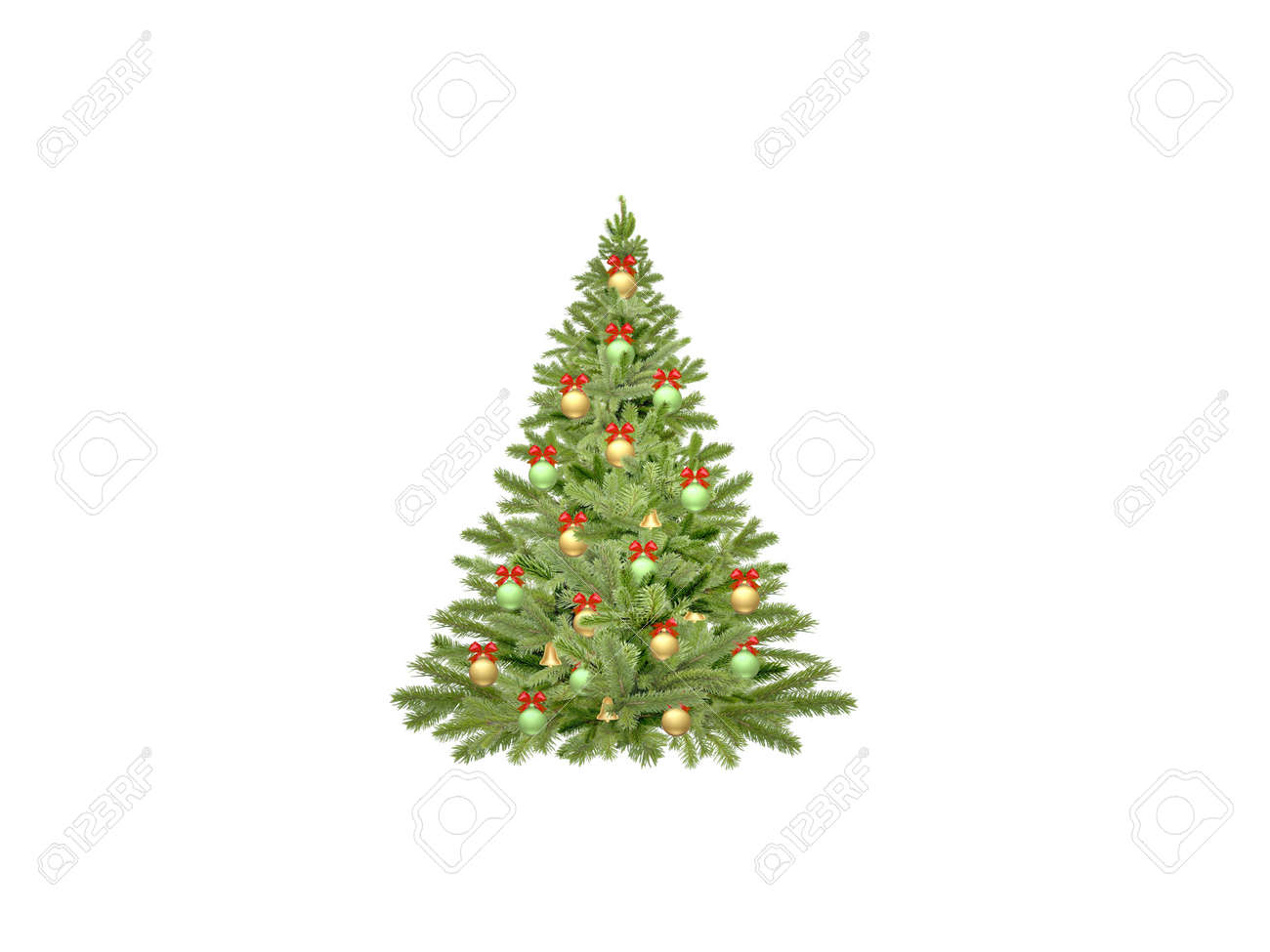 christmas tree on white background - 3d rendering - 158829172