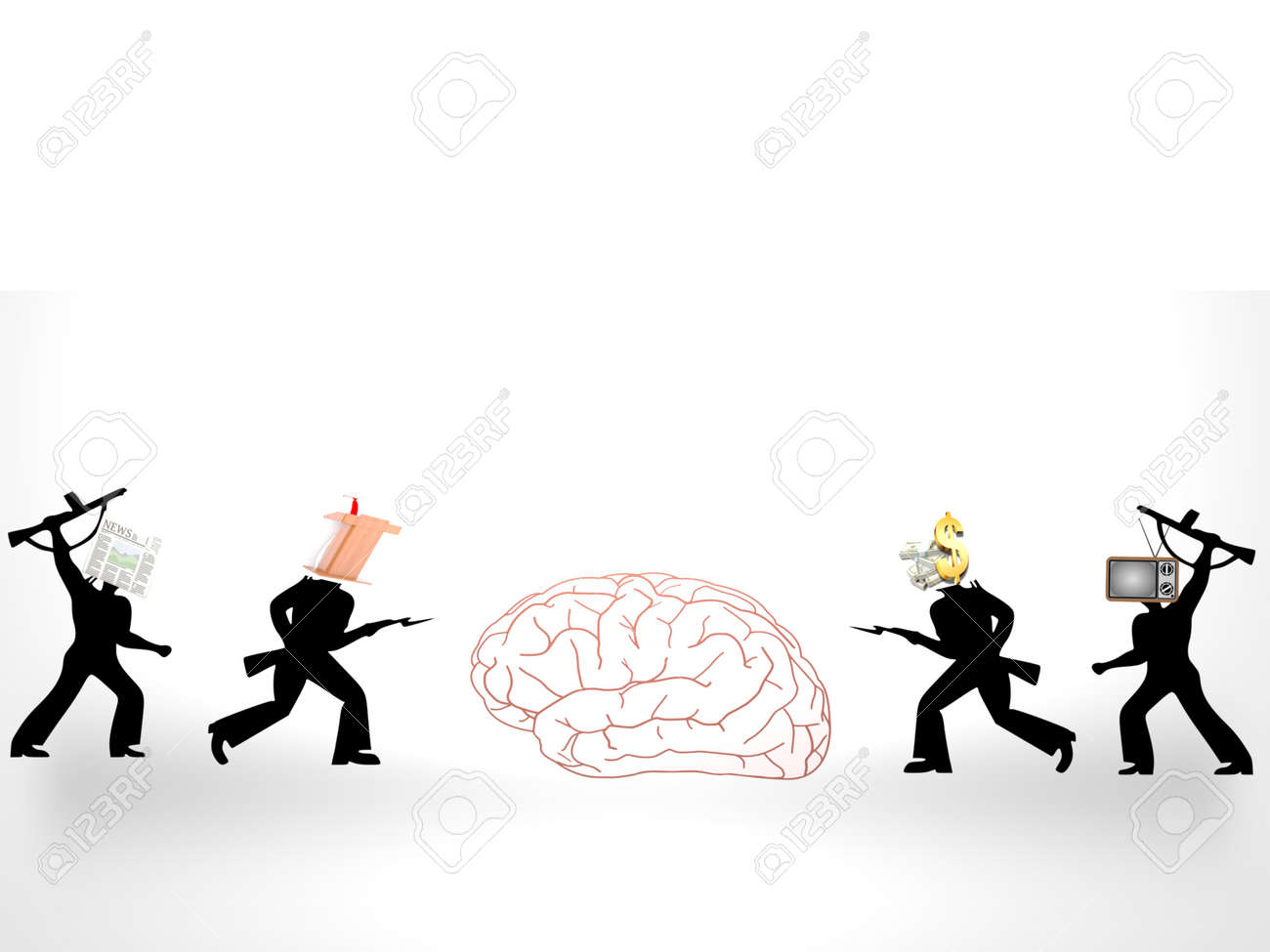 several questions about the brain on white background - 3d rendering - 162166046