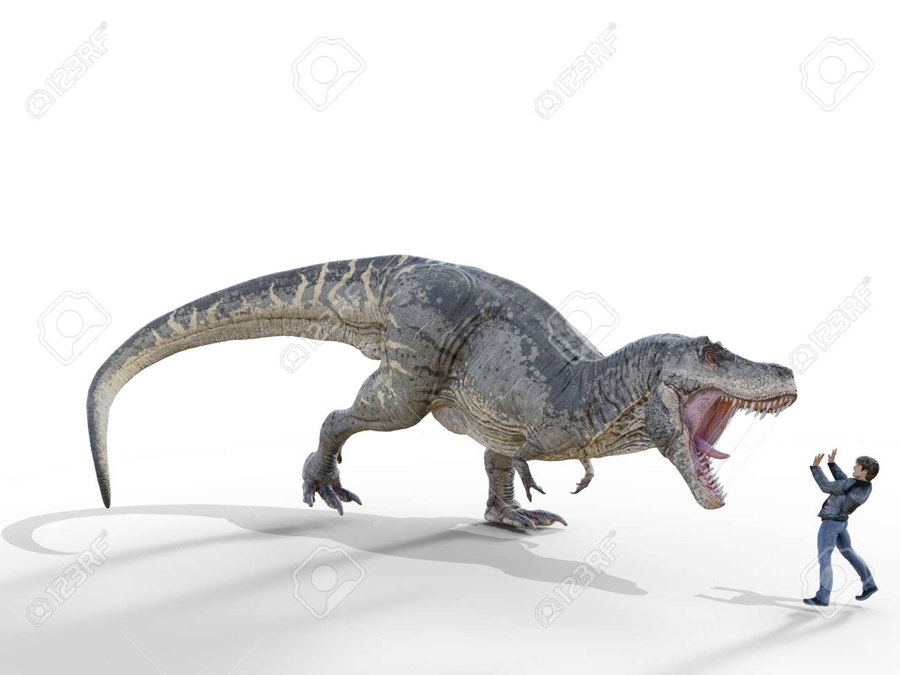dionsaur attacks human on white background - 3d rendering - 162166051