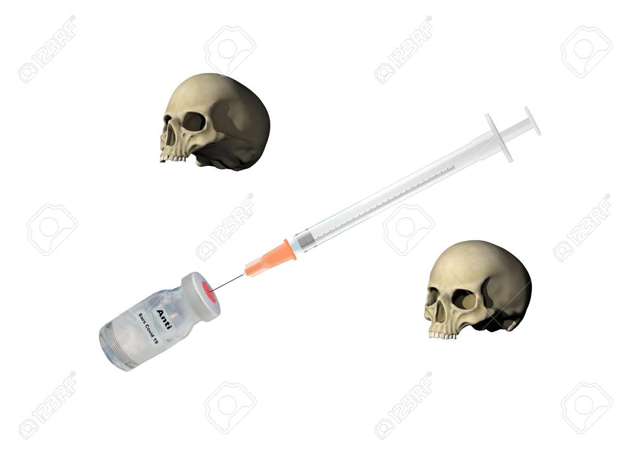 syringe and skull on white background - 3d rendering - 162988456