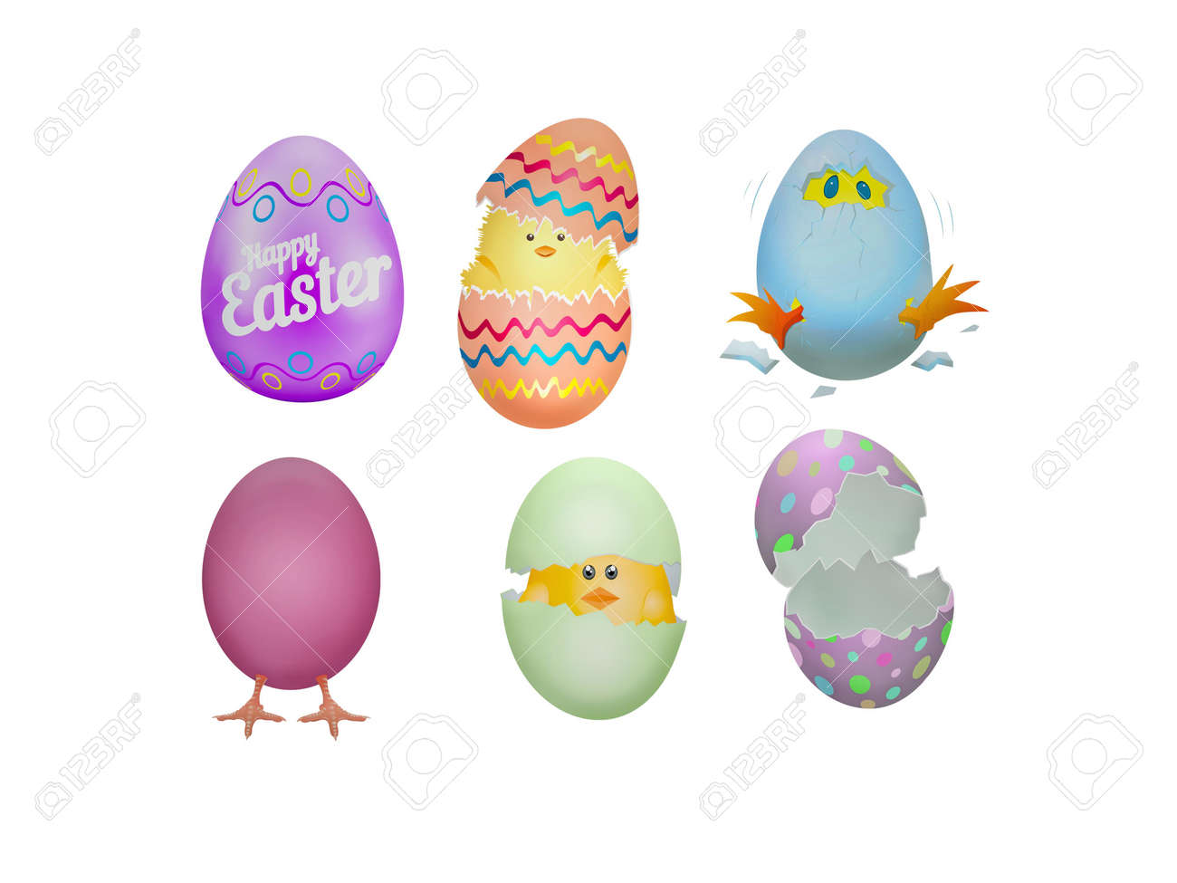 Happy easter on white background - 3d rendering - 164502246