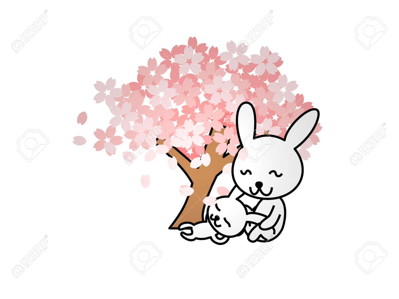 two rabbits at the foot of a tree on a white background - 3d rendering - 170721973