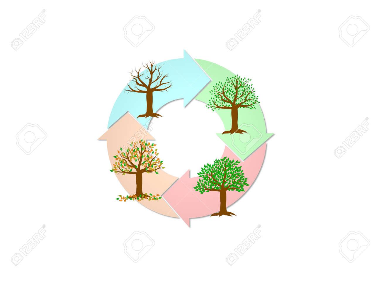 seasons on trees on white background - 3d rendering - 170230667