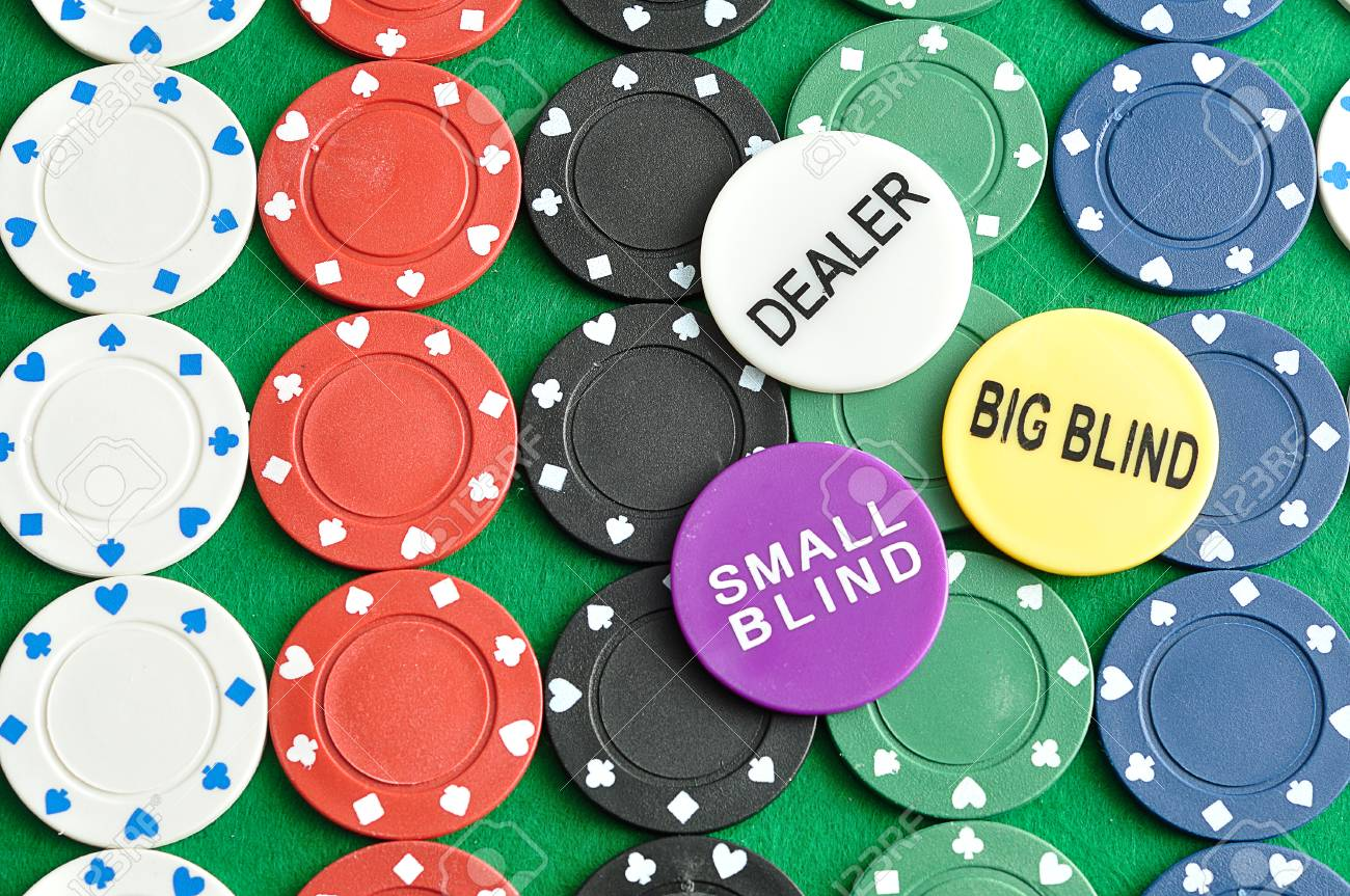 Rows Of Poker Chips With A Dealer Big Blind And Small Blind