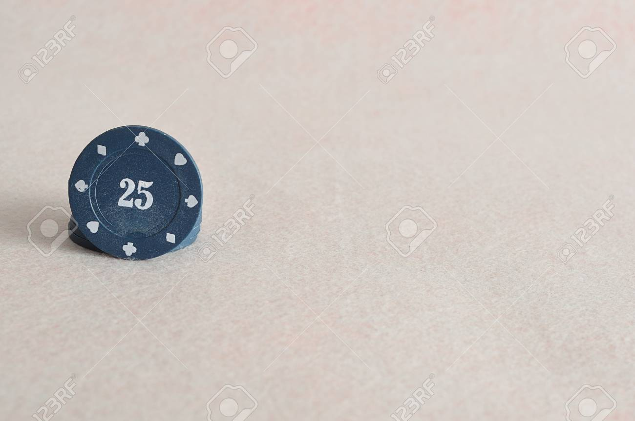 Blue Poker Chips With The Value 25 On It Stock Photo Picture And