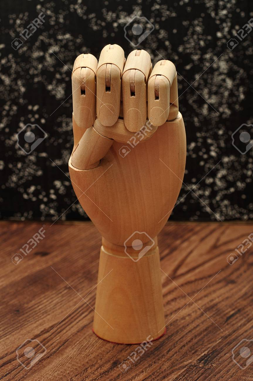 Sign Language. A Manikin Hand Signing The Letter E Stock Photo ...