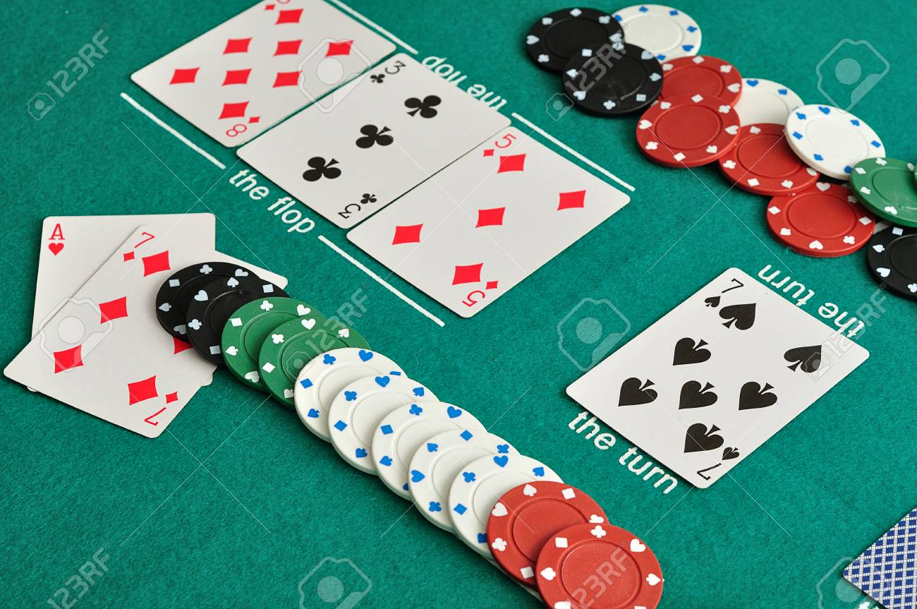 A Poker Table With Cards And Chips Stock Photo, Picture And Royalty Free  Image. Image 67967592.