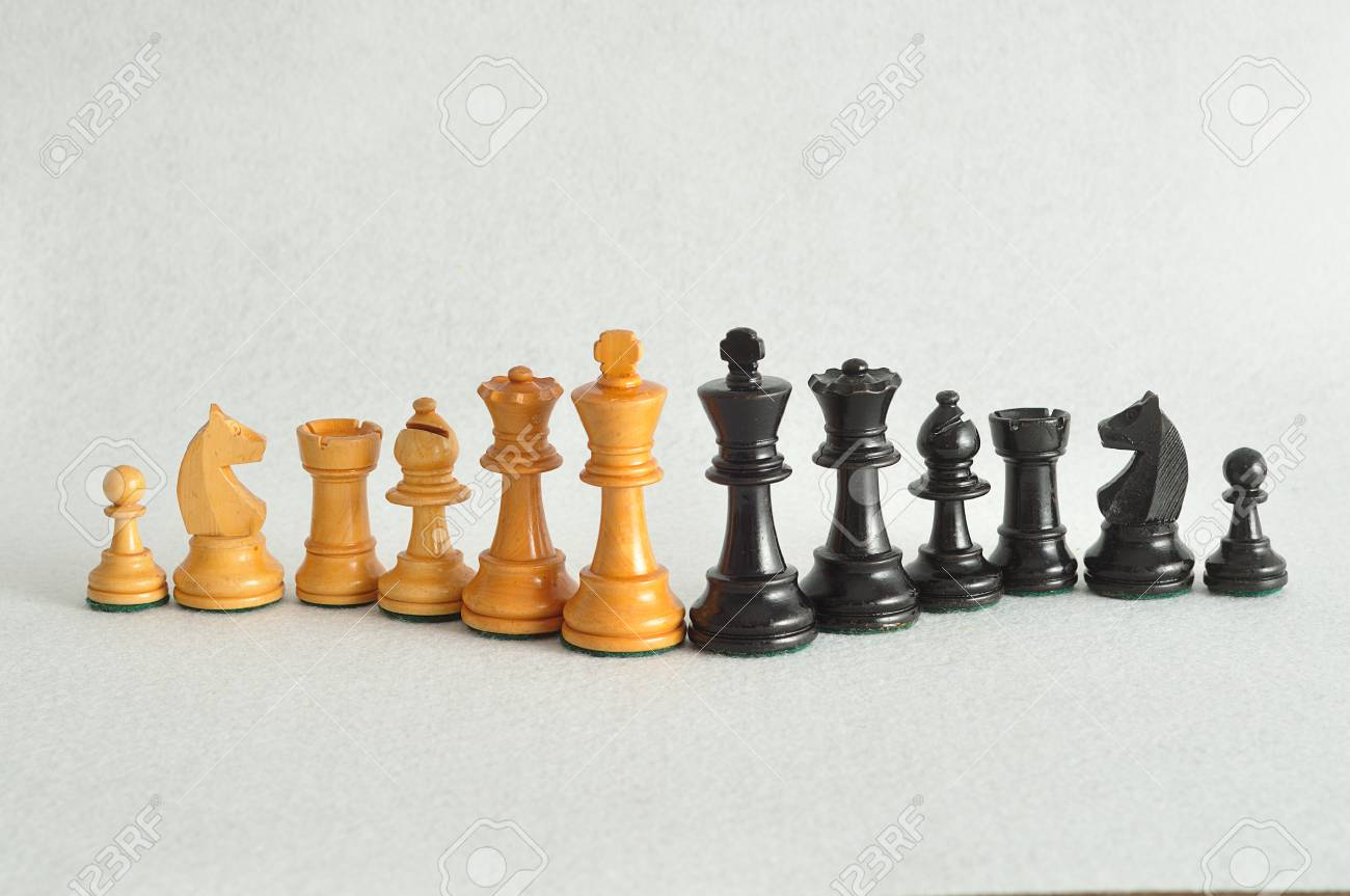 the different chess pieces isolated on a white background stock
