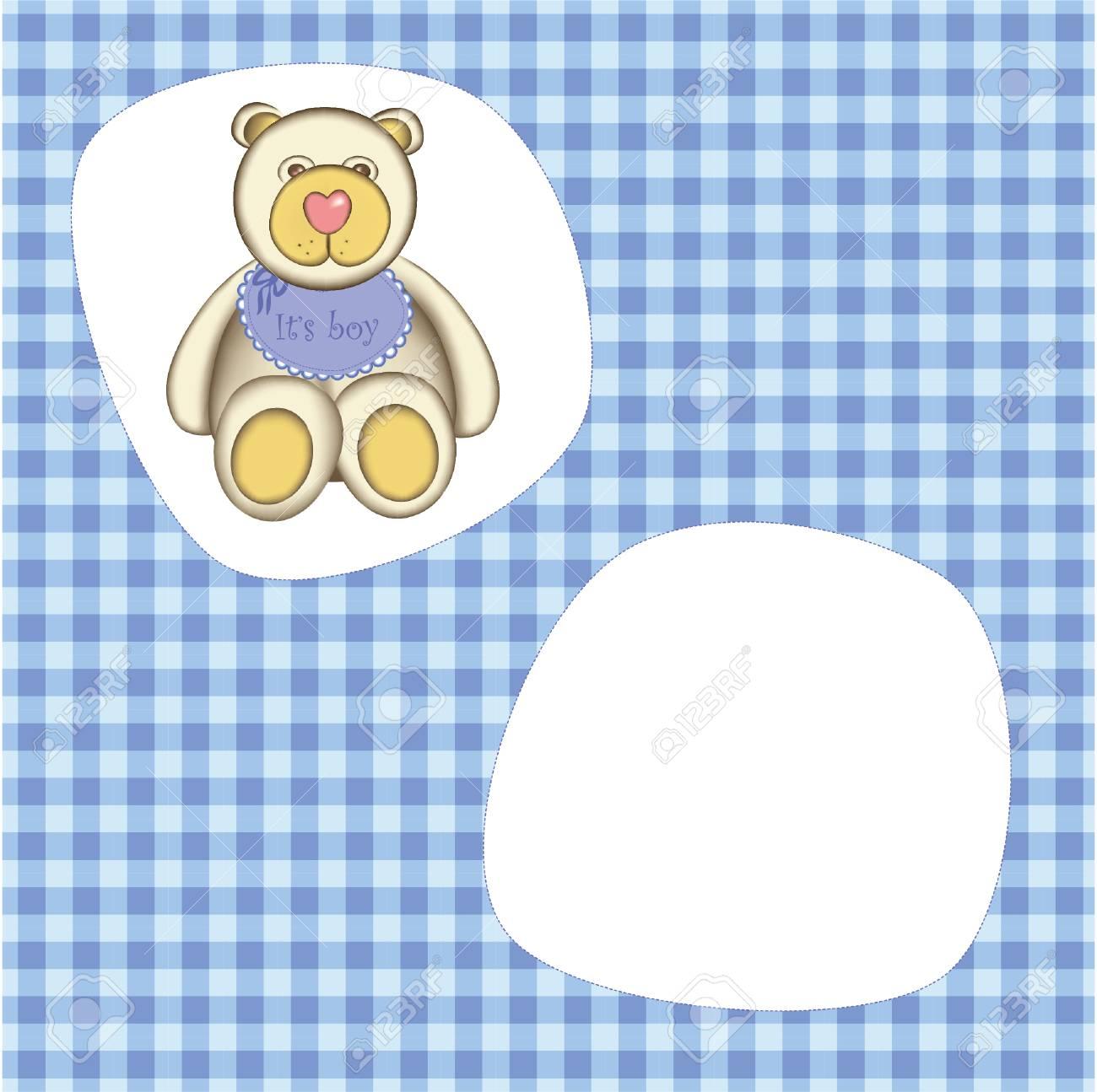 Bear for baby boy . Good for photo frame Stock Vector - 8976890