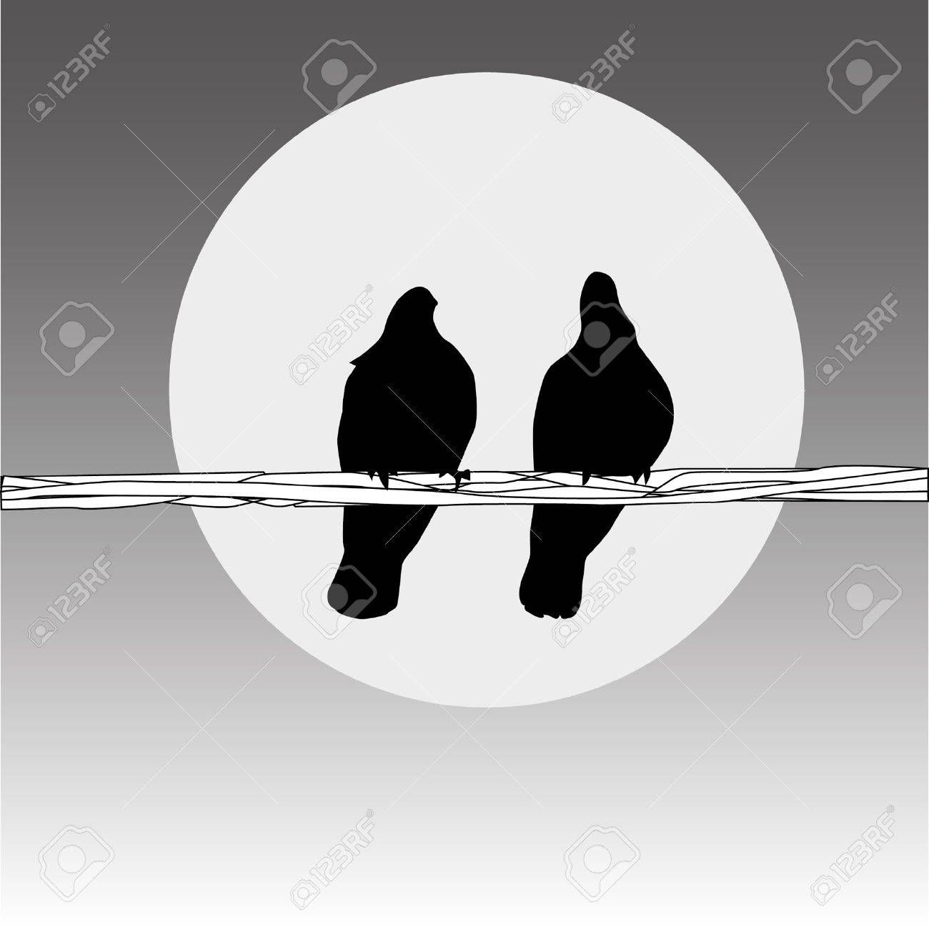 Birds On The Wire. Couple On The Grey Background Royalty Free ...