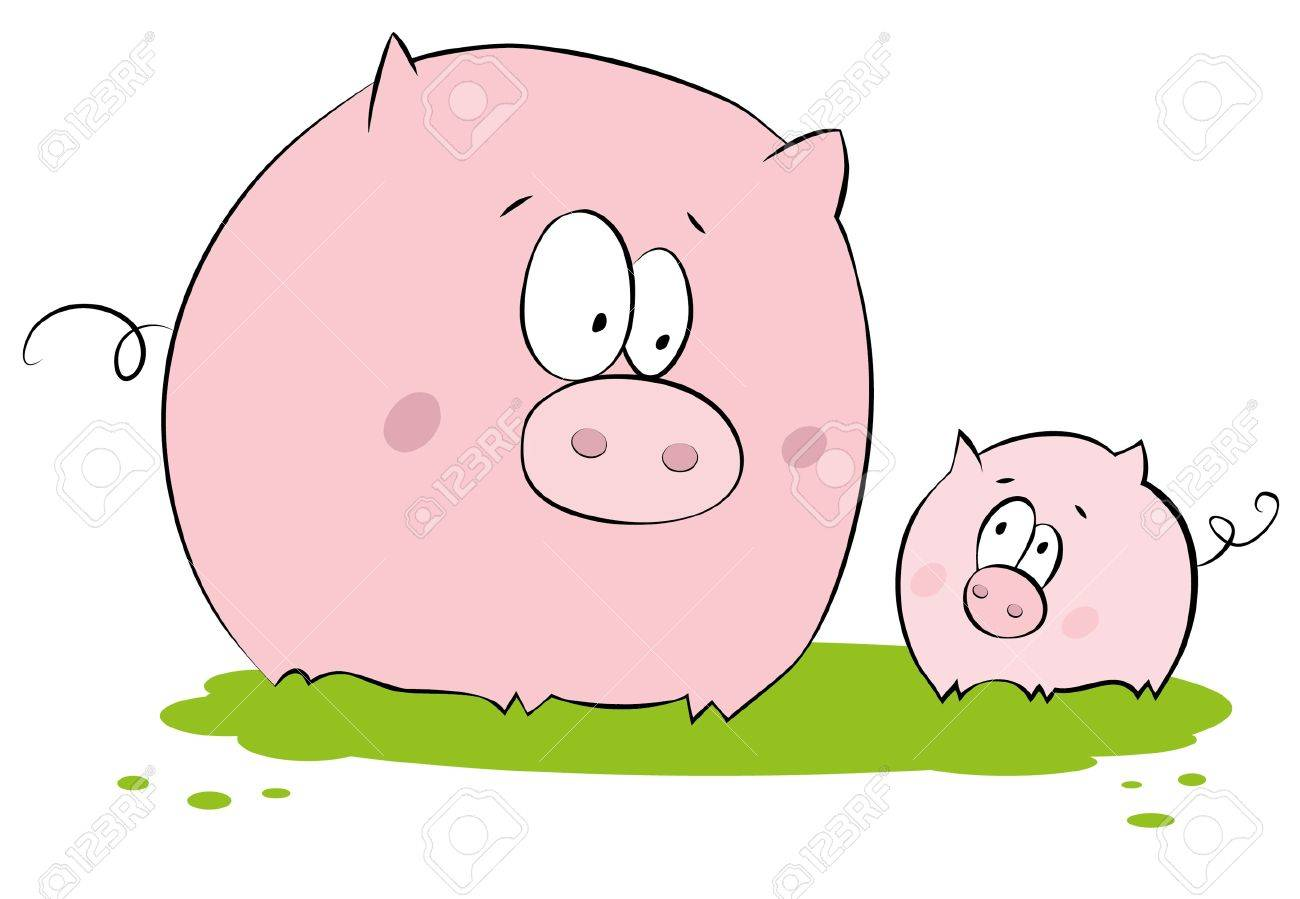 Funny pig : mother and child Stock Vector - 9774406