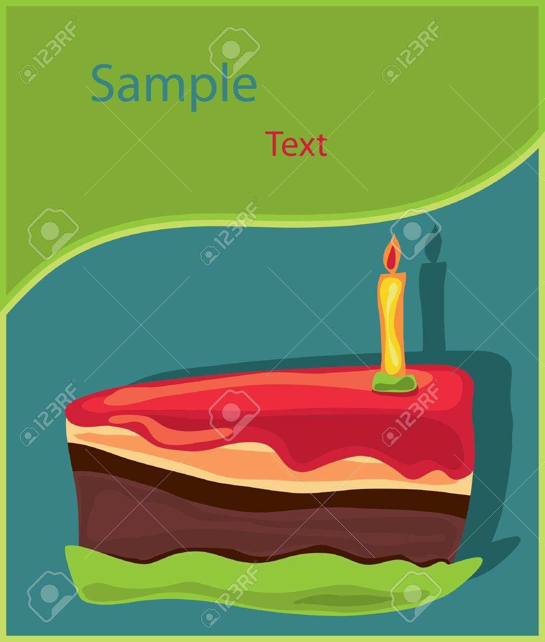 Piece of birthday Cake with candle. Stock Vector - 9934708