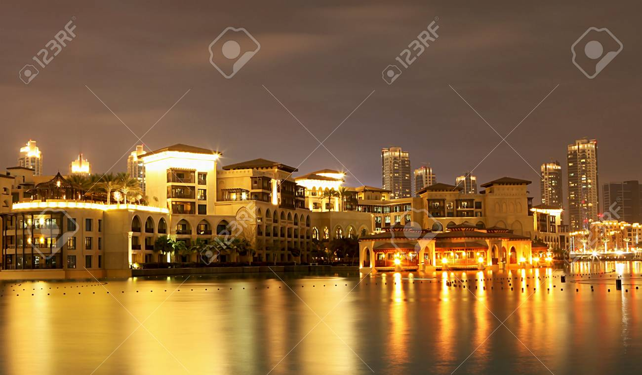 Town scape at night time. Panoramic scene, Dubai. Stock Photo - 10379291